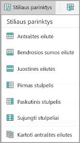 """Android"" lentelės stiliaus parinktys"