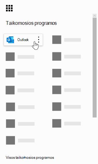 """""""Office 365"""" programų vykdyklė su pažymėta programa """"Outlook""""."""
