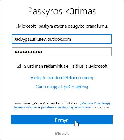 "Ekrano nuotrauka, rodanti kurti ""Microsoft"" Account dialogo langas."