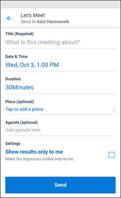 Kaizala nustatyti susitikimo