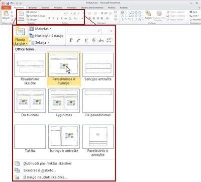 """Skirtukas Pagrindinis programoje """"PowerPoint 2010"""", peržiūrint grupę Skaidrės."""