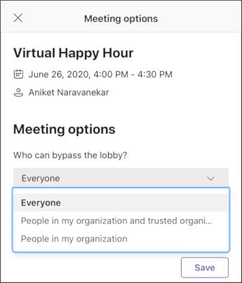 Susitikimo parinktys – mobili ekrano nuotrauka