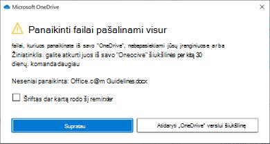 """Pranešimas apie panaikintus failus iš """"OneDrive""""."""