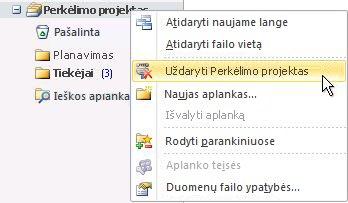 """Komanda Uždaryti """"Outlook"""" duomenų failą (.pst)"""