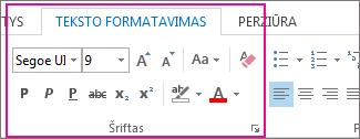 Formatuoti tekstą juostelės