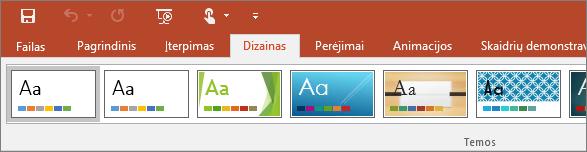 """Programos """"PowerPoint"""" juostelėje rodomas skirtukas Dizainas"""