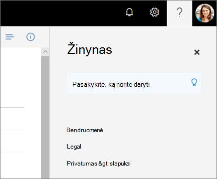"""Ekrano nuotrauka, vaizduojanti """"OneDrive"""" sritį Žinynas."""