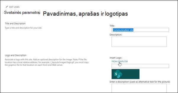 Komandos arba bendravimo svetainės logotipo keitimas