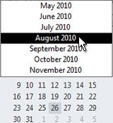 Datų naršyklė su mėnesio parinkiklis