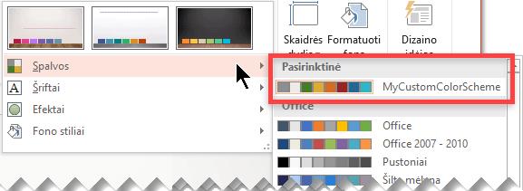 Kai nurodote pasirinktinę spalvų schemą, ji rodoma spalvų išplečiamajame meniu