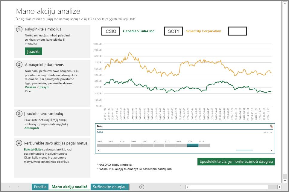 Pagrindinių akcijų analizės darbalapis