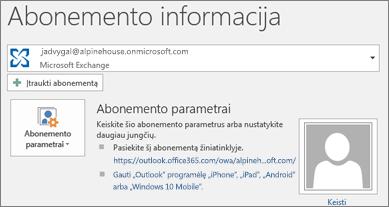 """""""Outlook"""" paskyros informacijos puslapio, pateikiamo """"Backstage"""" rodinyje, ekrano nuotrauka"""