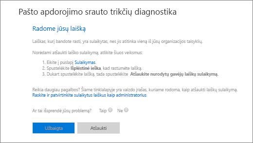 Ekrano kopija, kurioje matomas pašto srauto trikčių diagnostikos priemonės rezultatų pavyzdys.