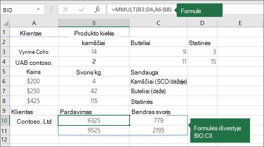 Funkcija MMULT – 2 pavyzdys
