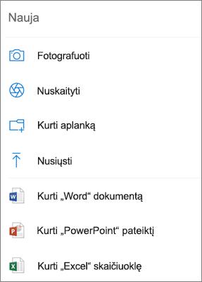 """Nusiųsti į """"OneDrive"""""""