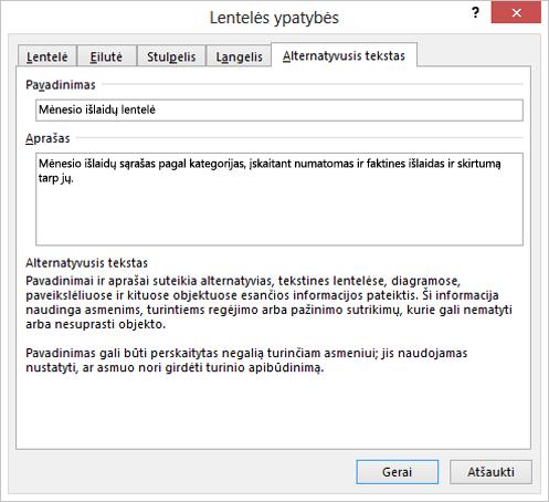 Lentelės ypatybių dialogo lango Alternatyviojo teksto skirtuko ekrano nuotrauka
