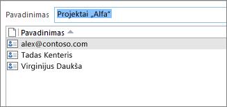 Dukart spustelėjus kontaktų grupę, atidaromas narių sąrašas