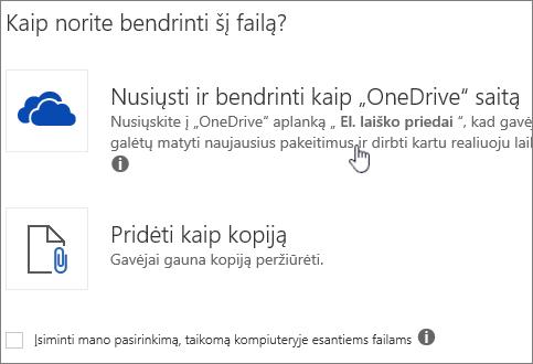 """Priedo ekrano dialogo langas, kuriame rodoma nusiuntimo ir pridėti kaip """"OneDrive"""" failų parinktį."""