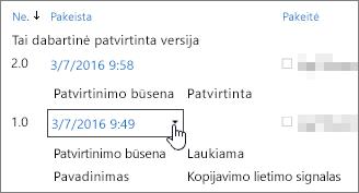 Dialogo lange mygtuko versiją išplečiamąjį lauką