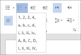Pagrindinio skirtuko Pastraipos grupės Numeravimo parinkties su galimais nuoseklių sąrašų numeriais ir raidėmis ekrano nuotrauka.
