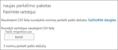Naujas perkėlimo paketas su CSV failu