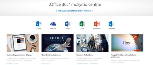 """""""Office"""" mokymo centro pagrindinis puslapis su skirtingų """"Office"""" programų piktogramomis ir galimų turinio tipų plytelėmis"""