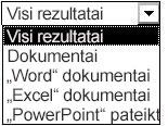 """Rezultatų pasirinkimai, įskaitant visus rezultatus, dokumentus, """"Word dokumentus"""", """"Excel"""" dokumentus ir """"PowerPoint"""" pateiktis"""