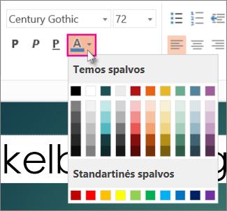 Pasirinkti teksto spalvą