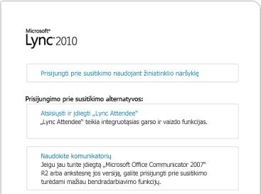 """""""Lync"""" naršyklės lango atvaizdas"""