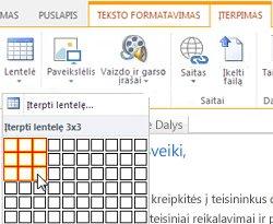 """Lentelės įterpimas """"SharePoint Online"""" viešoje svetainėje"""