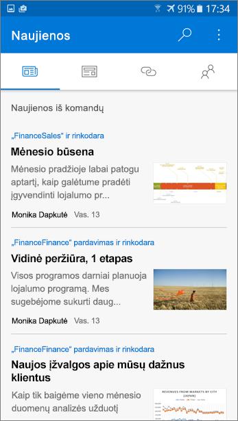 Ekrano nuotrauka skirtuką Naujienos