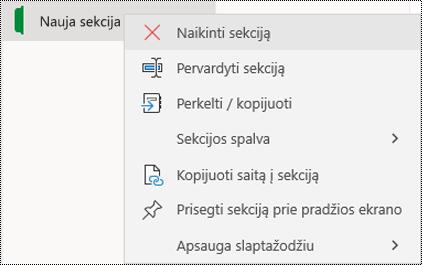 """Kontekstinio meniu, skirto panaikinti sekcijos skirtuką programoje """"OneNote"""", skirtoje """"Windows 10"""", ekrano nuotrauka."""