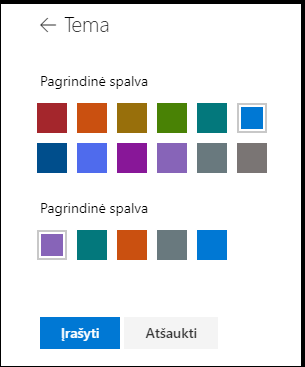 """""""SharePoint"""" svetainės spalvų temos tinkinimas"""