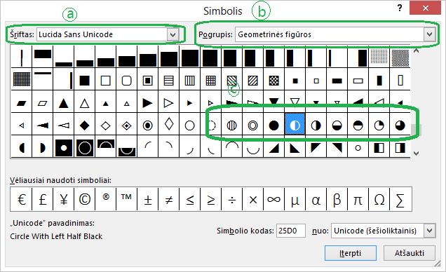 """Dialogo lange Įterpimas > Simbolis, pasirinkus šriftą """"Unicode"""", matyti """"Harvey"""" apskritimų simboliai"""