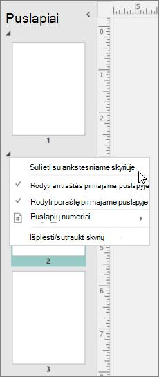 Ekrano kopijoje rodoma sekcija, pažymėta žymekliu, nukreiptu į parinktį sulieti su ankstesne sekcija.