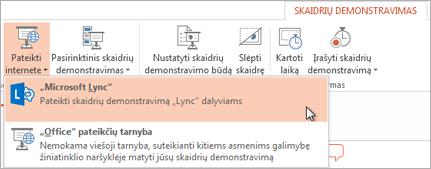 """Pateikimas internetu naudojant """"Lync"""""""