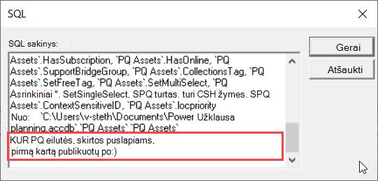 MS užklausos SQL rodinys pabrėžiant sąlygą WHERE