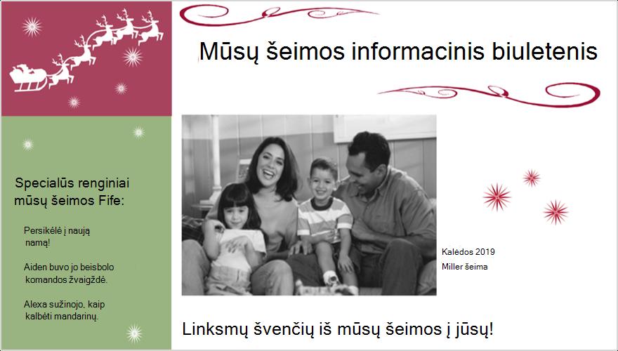 Atostogų šeimos informacinio biuletenio su nuotrauka vaizdas