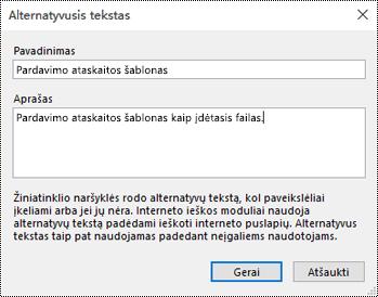 Alternatyviojo teksto įtraukimas į failo spaudinio dialogo langą