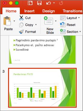 """Rodo miniatiūrų srityje pažymėtą skaidrę programoje """"PowerPoint 2016"""", skirtoje """"Mac"""""""