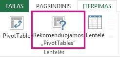 """Rekomenduojamos """"PivotTable"""", """"Excel"""" skirtuko Įterpimas"""