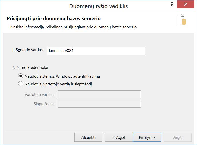 Prisijungimas prie duomenų bazės serverio