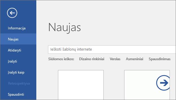 """Rodoma programos """"Word 2016""""  parinktis Failas > Naujas ekranas"""