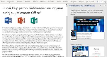Dokumentas kairėje ir sritis Transformuoti į tinklalapį dešinėje