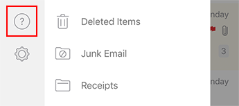 """Outlook"", skirtos ""iOS"", kairiosios naršymo srities vaizdas."