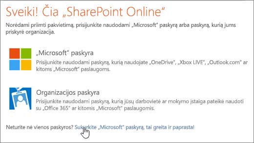 """Ekrano nuotrauka, rodanti SharePoint Online prisijungimo ekraną, taikydami nuorodą sukurti pažymėtas """"Microsoft"""" abonementą."""