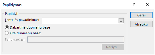 Papildymo užklausos dialogo lango ekrano nuotrauka