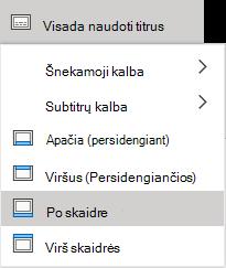 """PowerPoint Online"" subtitrų parametrai."