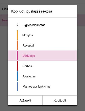 The Copy Page to Section menu in OneNote for Android