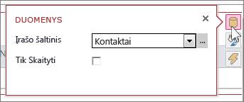 Žiniatinklio duomenų lapo rodinio dialogo langas Duomenys